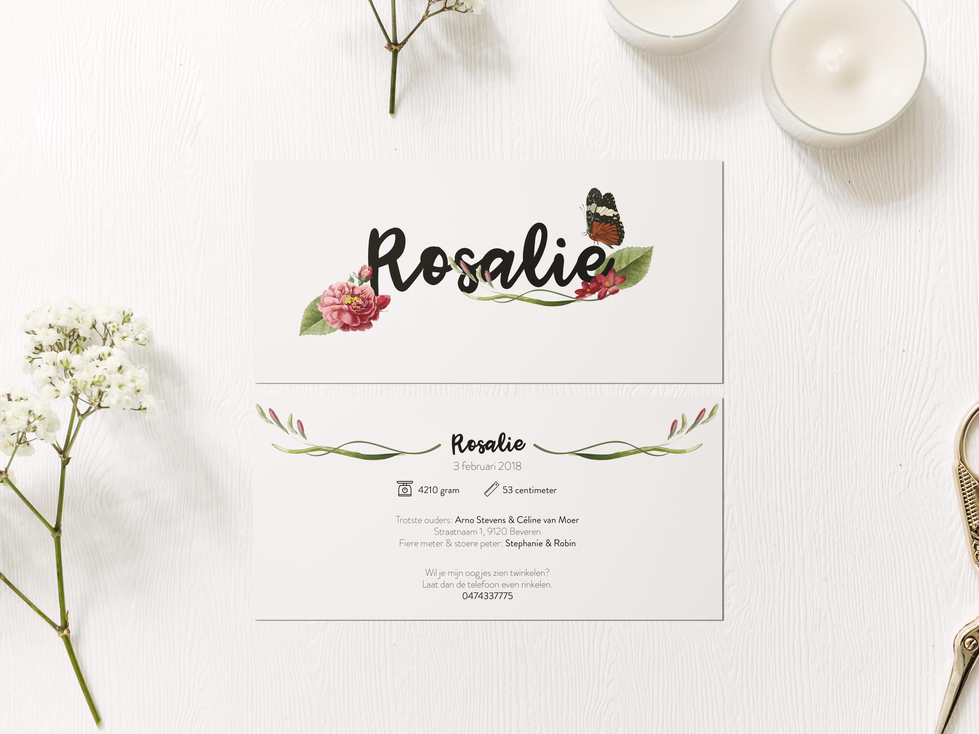 Geboortekaartje Rosalie